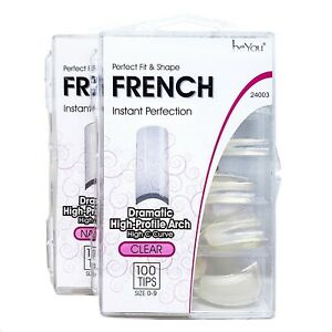 BeYou Dramatic High-Profile Arch FRENCH Style Nail Tips 100pcs Clear&Natural