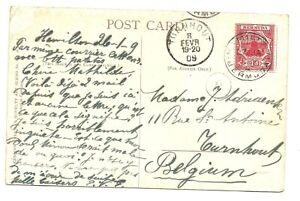 BERMUDA: Postcard franked 1d. Ship,red from Hamilton (1909) to Belgium