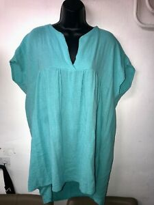 AYVA LONDON PEPPERMINT GREEN COTTON TOP ONE SIZE PLUS NEW