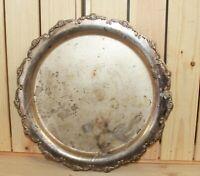 Vintage hand made ornate floral metal platter serving tray