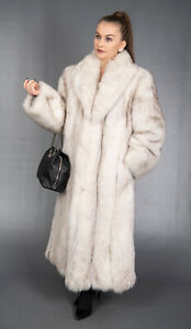 8629 GLAMOROUS REAL BLUE FOX COAT LUXURY FUR EXTRA LONG BEAUTIFUL LOOK SIZE L