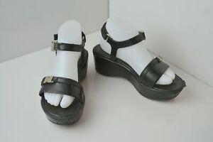 Prada Black Leather Strappy Wedge Platform Sandals Size 37.5 US 7 7.5
