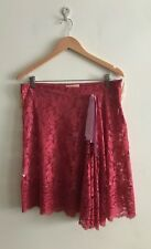 Alannah Hill Gorgeous Pink Lace Ribbon Wrap Skirt Size 14 Wide Flounce
