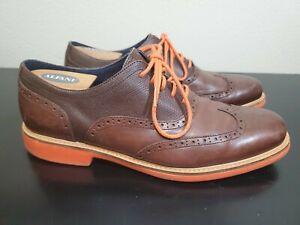 COLE HAAN Men's Cooper SQ Wingtip Oxford Shoe Size 10.5 M - Orange Soles / Laces