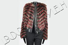 GIVENCHY 10K$ Auth New Multi Colour Striped Raccoon Fur Leather Jacket sz 36