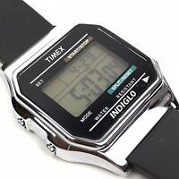 TIMEX Mens Digital Watch Silver Tone Black Rubber Water Rst. Alarm Chrono Vtg
