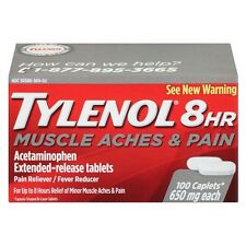 TYLENOL 8 Hour Muscle Aches - Pain Caplets 650 mg 100 ea (Pack of 2)