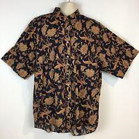 Tommy Hilfiger Mens XL Linen Blend Tropical Short Sleeve Button Front Shirt
