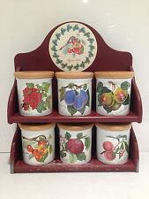 Raro conjunto de 6 jarras de almacenamiento calentar con especias de Portmeirion Pomona con Tapa Ollas Estante