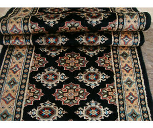 Exclusive Mid Night Black Jaldar Hand Knotted Hall Way Runner Rug (2 x 6)'
