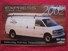 2002 CHEVY CHEVROLET EXPRESS CARGO VAN FACTORY FEATURES / INFO CARD