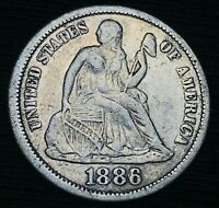 1886 Seated Liberty Dime 10c High Grade Details Good 90% Silver US Coin CC3258