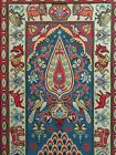 Antique Qajar Needlepoint Tapestry Handmade Middle East Art Lion and Sun Motif