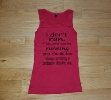 Womens Ladies I DON'T RUN If You See Me Running Funny Red Tank Top Gym L Large