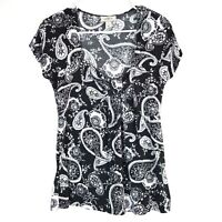Women's Ann Taylor Loft Scoop Neck Black White Paisley Flowers Cap Sleeve Size M