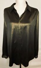 Chico's Women's Blouse Black Gold Metallic Long Sleeve Covered Buttons Size 3 XL