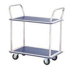 Jumbo 2 Tier Flat Bed Traymobile Shelf Trolleys - Service Cart Platform Truck