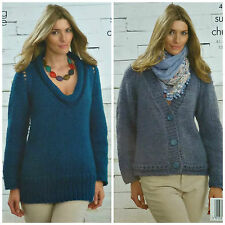 668832c0d658ae KNITTING PATTERN Ladies EasyKnit ScoopNeck Jumper V-Neck Jacket SuperChunky  4065
