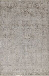 Muted Semi-Antique Geometric Distressed Oriental Area Rug Hand-knotted Wool 6x9