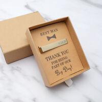 Personalised Tie Bar Engraved Tie Clip Best Man Groomsmen Tie Pins Wedding Gifts