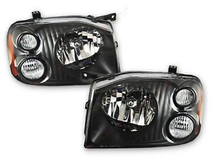 Pair Eagle Eyes Black Housing Headlights for 2001-2004 Nissan Frontier LH+RH