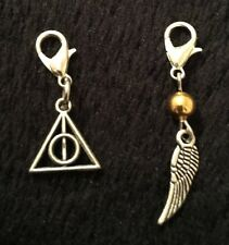 2pc Harry potter deathly hallows Symbol Golden Snitch Bracelet Charm Clip Bag UK