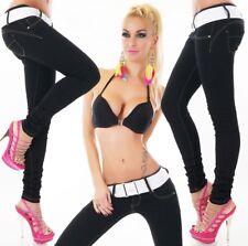 Slim Fit Skinny Röhren Jeans Hose Damen + Gürtel 34 36 38 40 42 schwarz