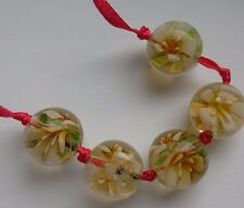 5 Floral Lampwork Beads, White/Yellow,  18 mm. Embellish/Crafts/Jewellery Making