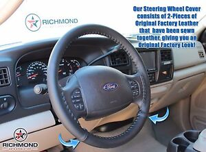 2005-2007 Ford F250 F350 Lariat Crew Quad -Leather Steering Wheel Cover Black