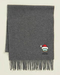 🆕️ MOSCHINO Lambs Wool Holiday Teddy Ski Wide Scarf, Charcoal,  New with Tag