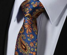Mens Tie Silk Blend Woven Blue Orange Floral Yellow Jacquard Paisley  /10