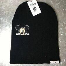 Disney Men's One Size Neff Knit Beanie Mickey Mouse Patch Brand New Black