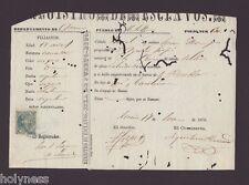 REGISTRO DE ESCLAVOS / SLAVERY DOCUMENT + STAMP / HATILLO PUERTO RICO / 1870