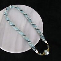 Vtg Chunky Long Blue White Twisted Glass Bead Beaded Necklace Oversized Bead