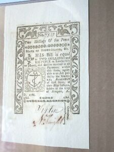 Colonial Currency Rhode Island May 1786 PMG 62 UNC Fr # RI-293