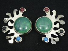 VINTAGE 60's TU-37 CARSI TAXCO CHRYSOCOLLA & PRECIOUS STONE STERLING EARRINGS