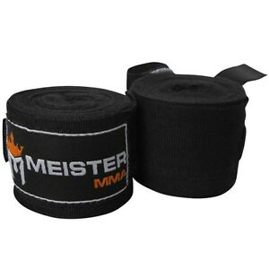 """MEISTER BLACK 180"""" MMA HAND WRAPS - Mexican Elastic Cotton Boxing Wrist New PAIR"""