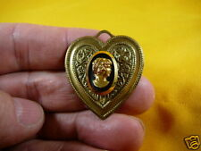 (C-555) vintage 1940 black gold glass Lady cameo 40's heart pin