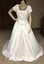 Alfred Angelo Wedding Dress Size 12 White Beaded Pearl Ballgown
