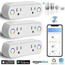 Dual WiFi Smart Plug Socket Outlet Switch Light APP Control Fr Alexa Google Home