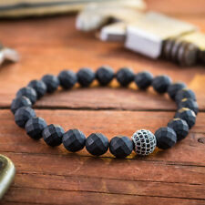 Mens 8MM Faceted Hematite Beaded bracelet Silver Plated Micro Pave Disco Ball H6