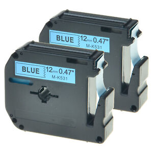 2PK Black on Blue Labelling Tape Cassette For Brother M-K531 M531 P-touch 12mm