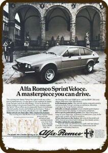 1978 ALFA ROMEO SPRINT VELOCE Car Vintage-Look DECORATIVE REPLICA METAL SIGN