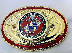 USMC Marine Corp Western Style Buckle (Red and Gold)
