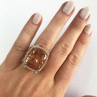18.85 ct Natural Peach Morganite & Diamond Solid 14k Rose Gold Big Cocktail Ring
