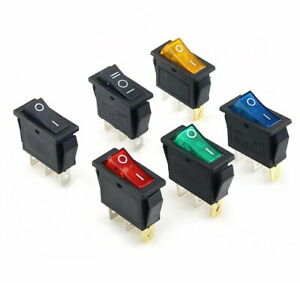 Rocker Switch Electrical Equipment ON OFF With Light 2Position 3Pin 16A 250VAC