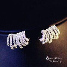 18K White Gold GF Simulated Diamond Studded Shiny Stylish Curved Stud Earrings