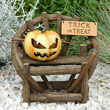 Twig Bench with Trick or Treat Sign and Jack-O-Lantern Pumpkin - Halloween