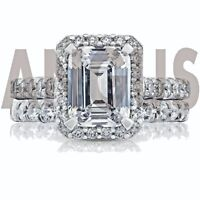 4.58 ct Emerald Cut Diamond Engagement Ring Wedding Band Solid 14k White Gold