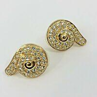 Swarovski Crystal Swirl Swan Signed Pierced Earrings Yellow Gold Tone Teardrop